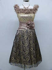 Cherlone Brown Prom Ball Evening Bridesmaid Wedding Formal Gown Dress Size 14-16