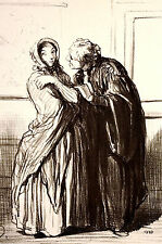 Honore Daumier 1950 JUDGE or LAWYER with DIVORCEE  Lithograph LEGAL Art Matted