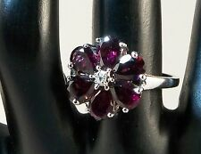 Natural Mozambique Garnet 6x4mm Floral Ring 925 Sterling Silver Size 8 TCW 5.04