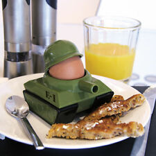 Army Tank Egg Cup holder & Soldier Shaped Toast Cutter Boys Novelty Secret Santa