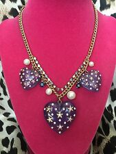 Betsey Johnson Heavens to Betsey Celestial Star Lucite Blue Heart Pearl Necklace