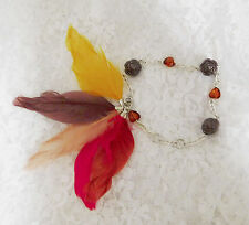 """Bead & Feather Dangle Bracelet - Could be used as an Anklet - 10"""" Total Length"""