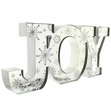 50cm Festive Christmas Party Light Up Mirrored JOY Shimmer Sign Decoration