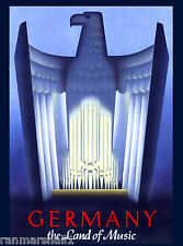 The Land of Music Germany German European Vintage Travel Advertisement Poster