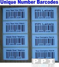 1000 Barcode Number Personalised Company Sticky Labels On Rolls 50x25 BC-NUM-01