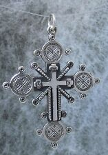 "Old Hutsul 3D Cross Pendant, Oxidized + Sterling Silver,large 2""X 1 1/2"", #5"