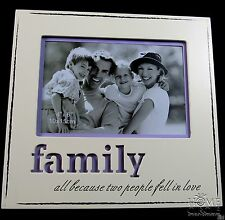 "IVORY AND LAVENDER PURPLE 4""X6"" FAMILY PHOTO FRAME HOME DECO GREAT GIFT"