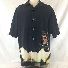 Scarface Button Front Black Camp Shirt Tony Montana Dragonfly Clothing Co XXL