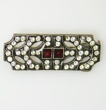 Lovely Vintage PIERRE BEX Art Deco RED Enamel Clear RHINESTONE Brooch Pin
