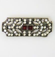 Lovely Vintage PIERRE BEX Art Deco RED Enamel Clear RHINESTONE Brooch Pin