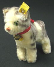 VINTAGE EARLY GERMAN STEIFF CUTE TABBY CAT PLUSH TOY BELL BUTTON TAG #2700/14 x