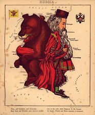 Fun Atlas Russian Vintage Antique Old Colour Reproduction Map of Russia as Bear