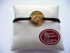 Bracelet cordon noir avec pièce 20 Francs Napoléon or