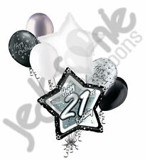 7 pc 21st Elegant Star Happy Birthday Balloon Bouquet Decoration Black & White
