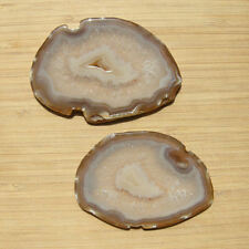 Lot 2 Polished Agate & Quartz Crystal Slices Matched Pair Cut From Same Geode