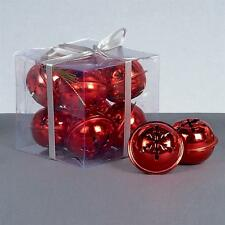 Premier Christmas Decoration 8 Pack Snowflake 40mm Jingle Bell Baubles - Red