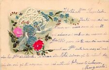 B2196 Fleurs Flowers Roses and Bird Hand Made PPC used 190 front/back scan
