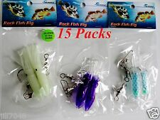 "15 Packs 3"" Rock Cod Rigs Two Bulb Squid rigged Rockfish bait - 5 x 3 Colors"