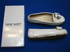 4.5 Nine West Girls Ladies Shoes Julissa White Patent Faux Leather Loafers Flats