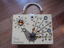 """Vintage WOODEN Original BOX BAG PURSE by COLLINS OF TEXAS """"FINE FEATHERS"""""""