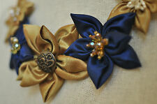 Statement Necklace Navy Blue Gold Daisy Fabric Floral Upcycled Handmade Crystals