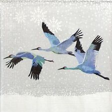 4 Single Lunch Party Paper Napkins for Decoupage Decopatch Craft Snowfall Cranes
