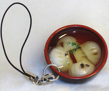 Fake Food Chinese Dumpling Soup Plate Bowl Key Chain Cell Phone Charm #D