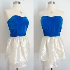 NWT Urban Outfitters blue white cocktail mini sweetheart dress size SMALL prom