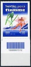Italia 2013 Campionati Mondiali sci nordico Val di Fiemme codice a barre  Mnh