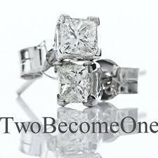 Handmade 0.80ct F VS2 Princess Cut Diamond Stud Earrings in 18ct White Gold