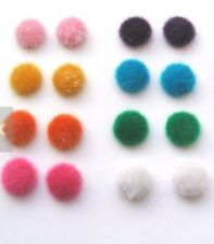 6 PAIRS FUR BALL STUD EARRINGS. PINK, GREEN, WHITE, BLACK, BLUE, RED 17MM