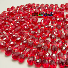 30 Pcs Bright Red Top-drilled Faceted Teardrop Glass Crystal Beads 13×8 mm-CH228