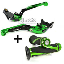Green Extendable Brake Clutch Levers Hand Grips for Kawasaki Z800 2013 2014 2015