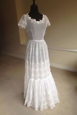 Vintage Sheer White Organdy Eyelet Wedding Dress 1930 1940