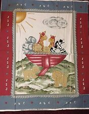 Baby quilt panel Noah Ark Animals 100% cotton fabric panel 36 in X 44 in