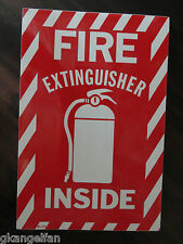 "(1 Sign) Fire Extinguisher Inside with Picture, 6""x9"" Sign, Self Adhesive Vinyl"