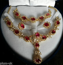 SE43. Sim diamonds & RUBIES 18k GOLD GF STATEMENT necklace bracelet ring earring