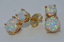 14kt Yellow Gold Opal Double Round Stud Earrings