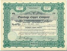 Onondaga Copper Company Stock Certificate Houghton Michigan Mining Green