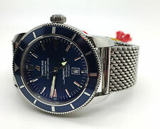 BREITLING SuperOcean Heritage 46 BLUE Face w/ Stainless Mesh Band A17320 w/ Box