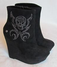 NEW Blink Ladies Black Suede Effect Skull Wedge Ankle Boots Size 8