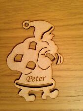 Personalised Wooden Santa Christmas Tree Decoration Mdf Blank