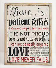 Love is Patient Metal Sign, Framed on Rustic Wood, Inspirational, Prayer