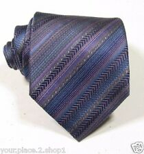 "Missoni Men's Purple Gray Blue Multi Striped Silk Tie 3.3"" W 58"" L Made in Italy"