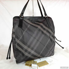 Rare Burberry Smoked Check Canvas Large Buckleigh Shoulder Tote Handbag Purse