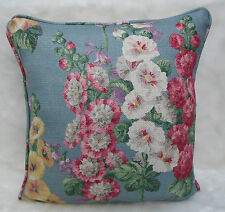 Sanderson Fabric Cushion Cover  ~ 'Hollyhocks' Petrol Blue/Multi ~ Linen Blend