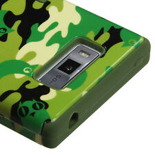 For LG Splendor US730 Rubber IMPACT TUFF HYBRID Skin Case Phone Cover Green Camo