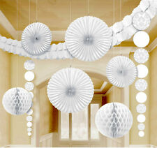 9 x White Hanging Paper Party Decorations Fans Honeycombs garland Wedding Decor
