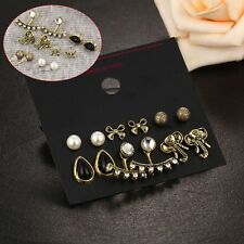 Pairs/Set Vintage Simulated Pearl Black Bow Ear Stud Jewelry Earrings Elephant