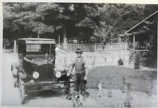 "12 By 18"" Black & White Picture 1925 Ford Model T Sedan with man and dog"